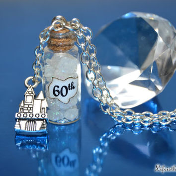 In Honor of Disneyland's 60th Anniversary ~ a Magical Faux Diamond Filled 60th Necklace with a Castle Charm, by Life is the Bubbles