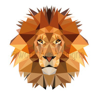 Lion Print, Low Poly Digital Art, Geometric Lion Print, Printable Wall Art, Childrens Art, Nursery Decor, Jungle Print, Lowpoly Illustration
