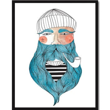 Sailor Giclee Print Portrait Illustration Drawing Sailor Beard Pipe Poster Wall Art Decor Sailor Portrait Drawing Bedroom Wall Decor
