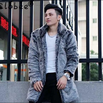 Warm faux silver fox fur coat mens leather jacket men long trench coat villus thicken winter loose thermal england outerwear
