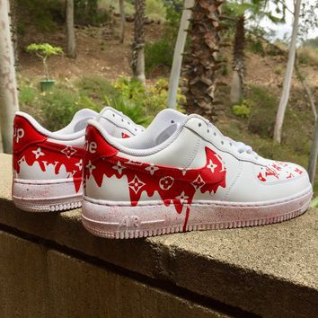 Dripping Red Louis Vuitton x Supreme Nike Air Force Ones, Custom shoes