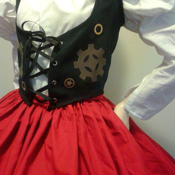 Steampunk Little Red Riding Hood Steam Punk  Victorian Womens Halloween Costume Skirt Blouse Vest Hooded Cape Large