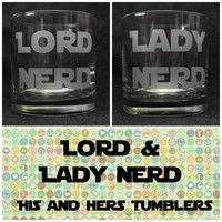 Lord & Lady Nerd Rocks Tumbler Set - Your choice of Font