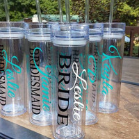 Set of 6 - Personalized Bride, Bridesmaid, Junior Bridesmaid, Flower Girl and Maid of Honor Acrylic Tumblers, Bridesmaid Gifts