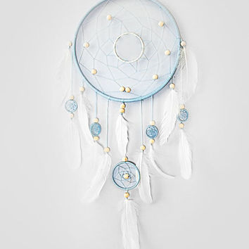 Blue Dream Catcher, Large dreamcatcher, Heavenly dream, White, Blue, wooden beads, duck feathers