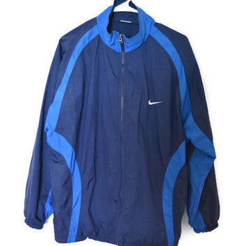 Vintage Nike Windbreaker Jacket 80s Mens Sz XL Blue Wind Breaker Lightweight Sport Clothing Athletic Retro Nike Jacket Light Weight Men Gift