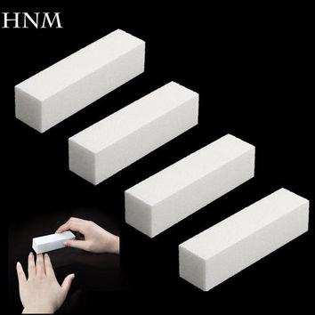 HNM 4Pcs/Lot Sanding Nail File Buffer Block for UV Gel Nail Polish Nail Art Tools Manicure Pedicure White Form Nail Buffers File