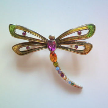 Monet Dragonfly Brooch, Vintage, Multicolor Rhinestones & Enamel Insect Pin, Designer Signed, Nature Lover's Gift Idea, 15% Off SALE