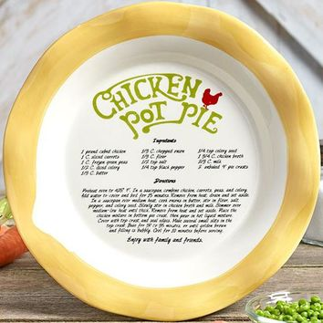 Country Style Recipe Pie Plate. Chicken Pot Pie Recipe Included. Gifted w/A Bow