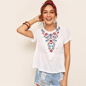 Boho Cute Embroidery Floral Ruffle Trim Peplum Top White T Shirt Women Round Neck Flared Hem Casual Tops T-shirts