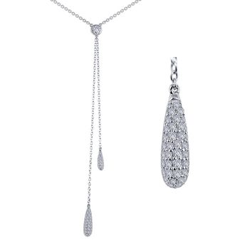 Lafonn Classic Sterling Silver Platinum Plated Lassire Simulated Diamond Necklace (0.82 CTTW)