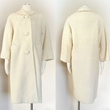 Vintage 50s to 60s Ivory Boucle Long Wool Coat - Off White Jackie Kennedy Style Dress Coat - Cream Women's Mad Men Winter Coat - Size Small