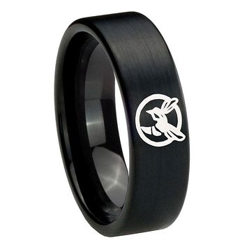 8MM Brush Black Honey Bee Pipe Cut Tungsten Carbide Laser Engraved Ring