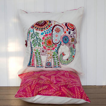 "Elephant Pillow- 12""x12"" Decorative Throw Pillow Cover with pink paisley elephant appliqué and rose pink leaf print batik backing"