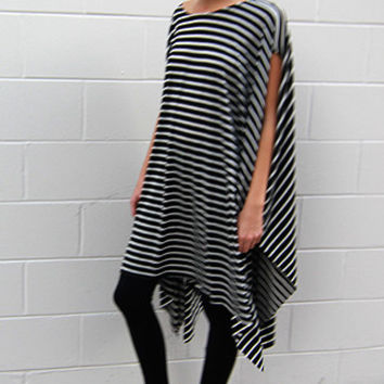Stripe Oversized Poncho T-Shirt