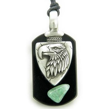 Arrowhead Eagle Tag Amulet Black Onyx and Green Aventurine Necklace