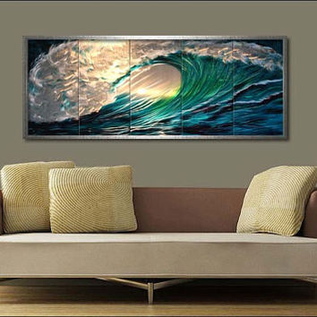 "Original Metal Wall Art Modren Painting Sculpture Indoor Outdoor Decor ""Wave"" by Ning"