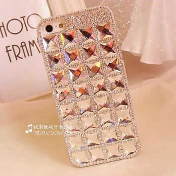 Dower Me Rhinestone Case For Apple Iphone X 8 7 6 6S Plus 5S SE 5C 4 4S Bling Crystal Diamond Back Skin Case Protective Shell