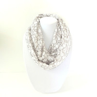 Lace Infinity Scarf, Neutral Infinity Scarf, Geometric Print Scarf, Spring Scarf