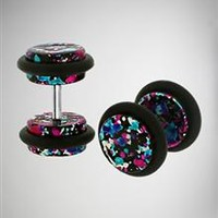 Metallic Multicolor Splatter Fake Plug Set