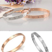 Men's Women's Stainless Steel Silver/Gold/Rose Gold Crystal Cuff Bangle Bracelet