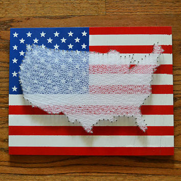 USA Flag String Art Red, White and Blue