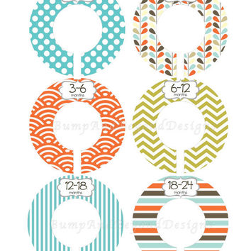 Custom Baby Closet Dividers Boy Closet Organizers Blue Brown Modern Closet Dividers Baby Shower Gift Baby Boy Nursery 007