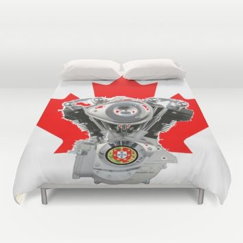 Canadian Portuguese Motorcycle Culture Duvet Cover by Tony Silveira