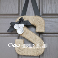 Jute Monogram Wreath with Book Page Rosettes