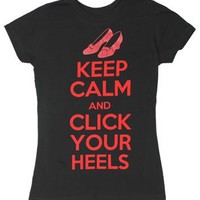 Keep Calm And Click Your Heels - Wizard Of Oz Sheer Women's T-shirt: Junior Small - Black