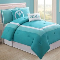 Full 5 Pc Turquoise Reversible bed in a bag comforter set