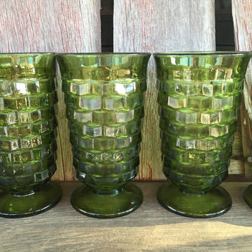 6 Whitehall Green Ice tea tumblers, vintage avocado green footed glasses, American Fostoria Cube Cubist tumblers, vintage fostoria glassware