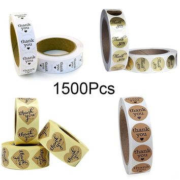 Kraft Paper gold Thank You Stickers Label 500 pcs 1'' Heart Shape & Round Adhesive Labels | 500 per Roll