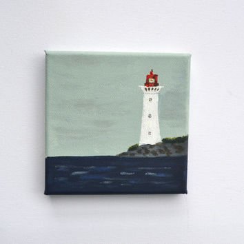 Lighthouse Original Painting, Small Square Canvas, Coast Art, Edge of the Sea, Nautical Wall Art, Nursery Seaside, Beach Cottage Painting,