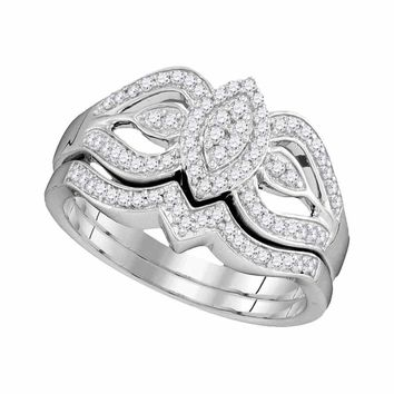 10kt White Gold Womens Round Diamond Oval Cluster Bridal Wedding Engagement Ring Band Set 1/3 Cttw