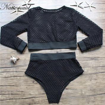 Hollow Out Net Short Sexy Two Piece Outfits Summer Long Sleeve Crop Top Women mesh Clothing