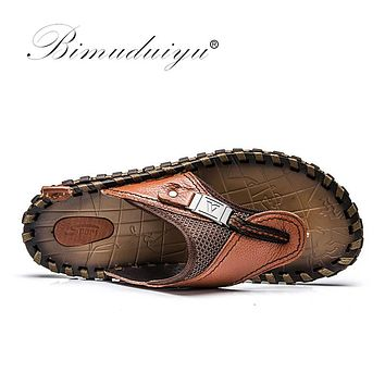 New Arrival Slippers Handmade Cow Genuine Leather Summer Shoes Fashion Men Beach Sandals Flip Flops