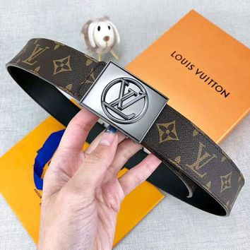 Louis Vuitton LV Fashion New Monogram Print Leather Leisure Women Men Belt Width 3.8 CM Coffee