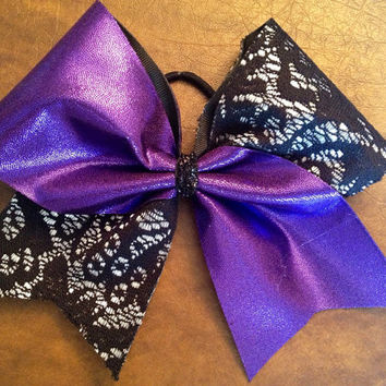 Cheer Bow - Purple and Lace