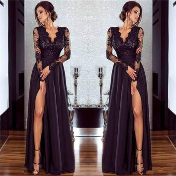 Women Sexy Black Lace Formal Evening Dresses Illusion Long Sleeves Side Split Prom Dresses