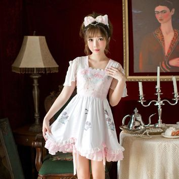 Princess sweet lolita  Candy rain dress Japanese floral  chiffon sweet butterfly sleeve printing A-line Dress C22AB7164
