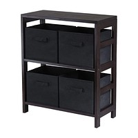 Capri 2 Tier Storage Shelf with 4 Black Baskets by Winsome Woods