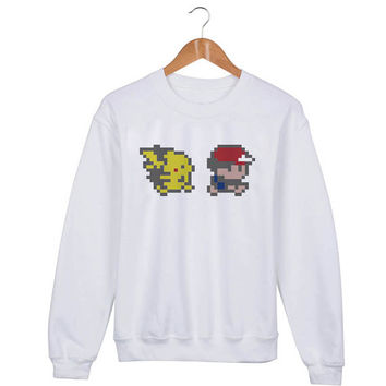 Ash and Pikachu Pokemon Sweater sweatshirt unisex adults size S-2XL