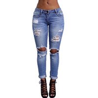 2016 Fashion Summer Style Ripped Holes Harem Pants Vintage Slim Boyfriend Jeans For Women