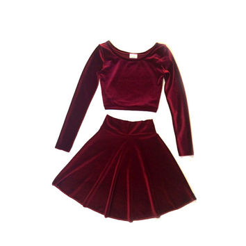 2 Piece Set Long Sleeve Velvet Dress