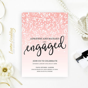 Blush pink engagement party invitations printed on luxury shimmer cardstock | Sparkly engagement party invitations cheap | New years eve