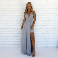 Always Your Girl Maxi Dress In Silver