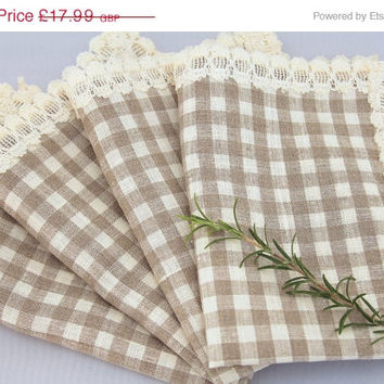 Christmas Sale Natural Ecru off White Checked Gingham Linen Napkin Serviette Placemat with Cream cotton Lace Set of 4 -rustic French Country