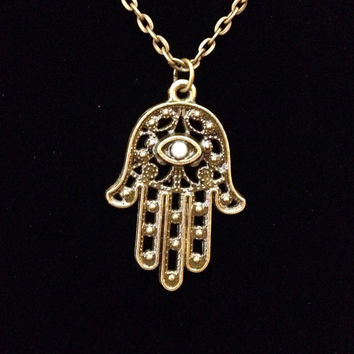 Bronze and pearl hamsa hand of fatima pendant necklace