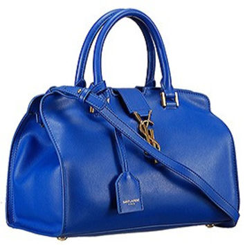 Saint Laurent Monogram Cabas Small Leather Bag Blue
